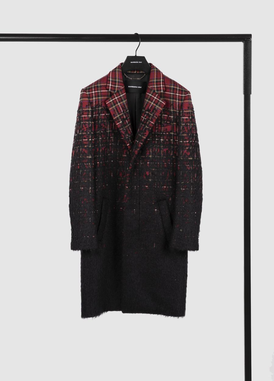 Tartan overcoat in colour gradient