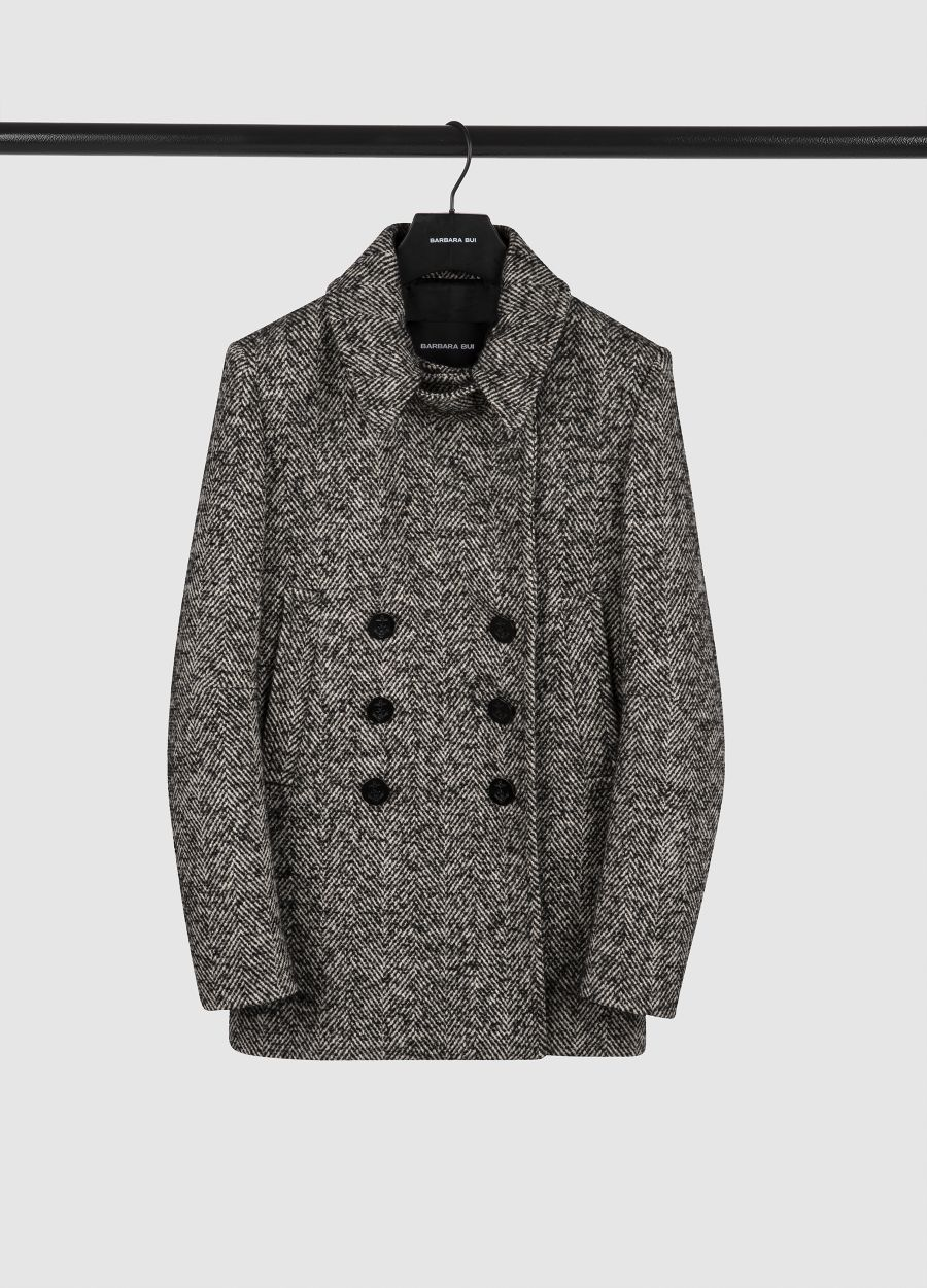 Wool herringbone peacoat