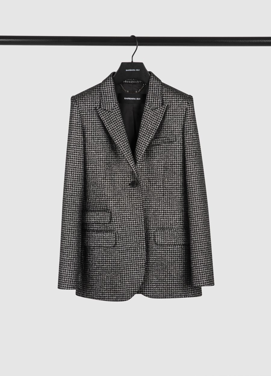 Tailored Lurex houndstooth jacket