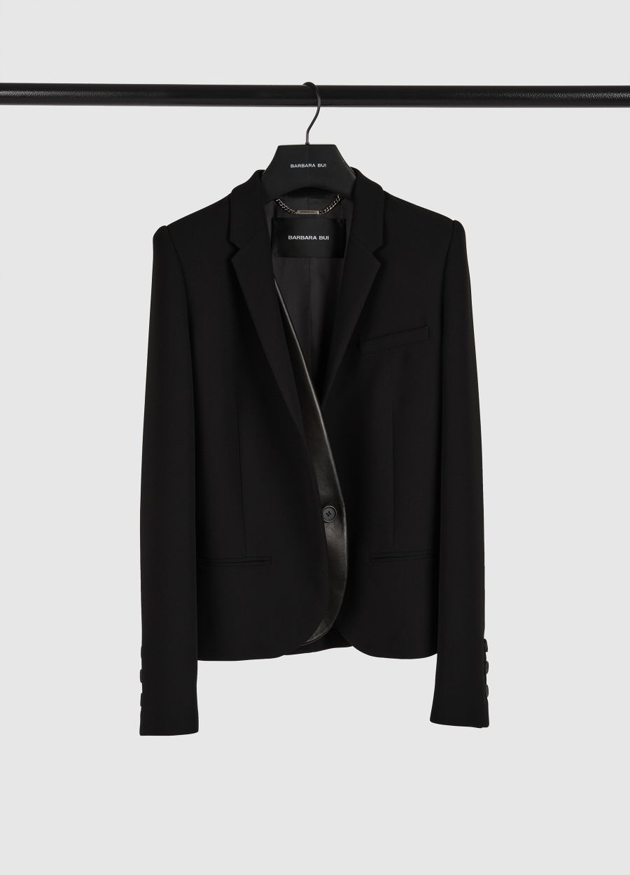 Crepe jacket with trompe-l'oeil leather panel