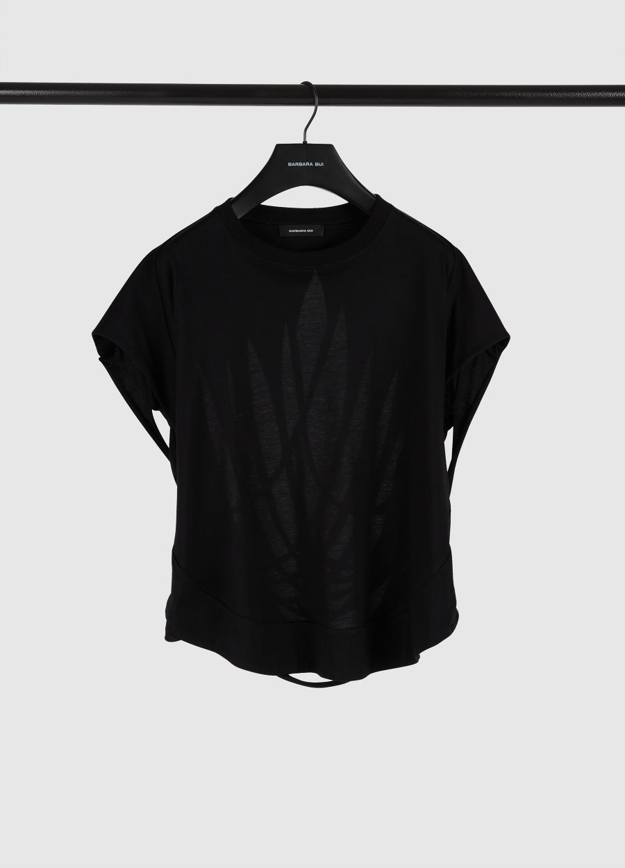 Cotton jersey t-shirt with slashed back