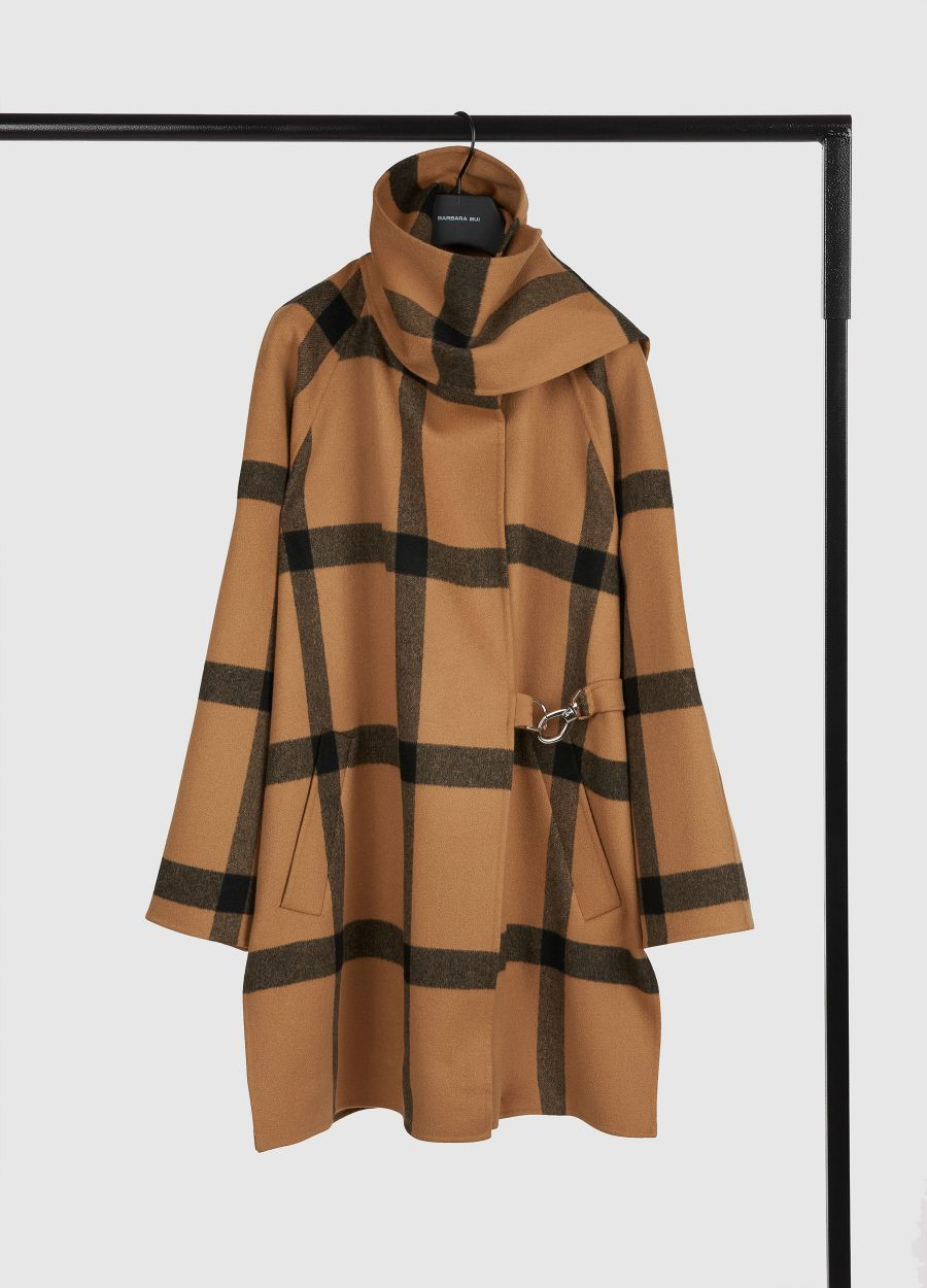 Plaid wool coat with built-in scarf