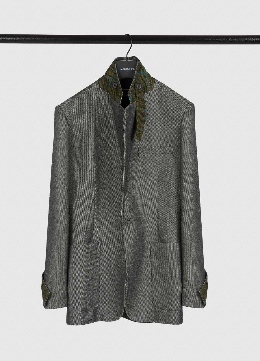 Denim and wool suit jacket