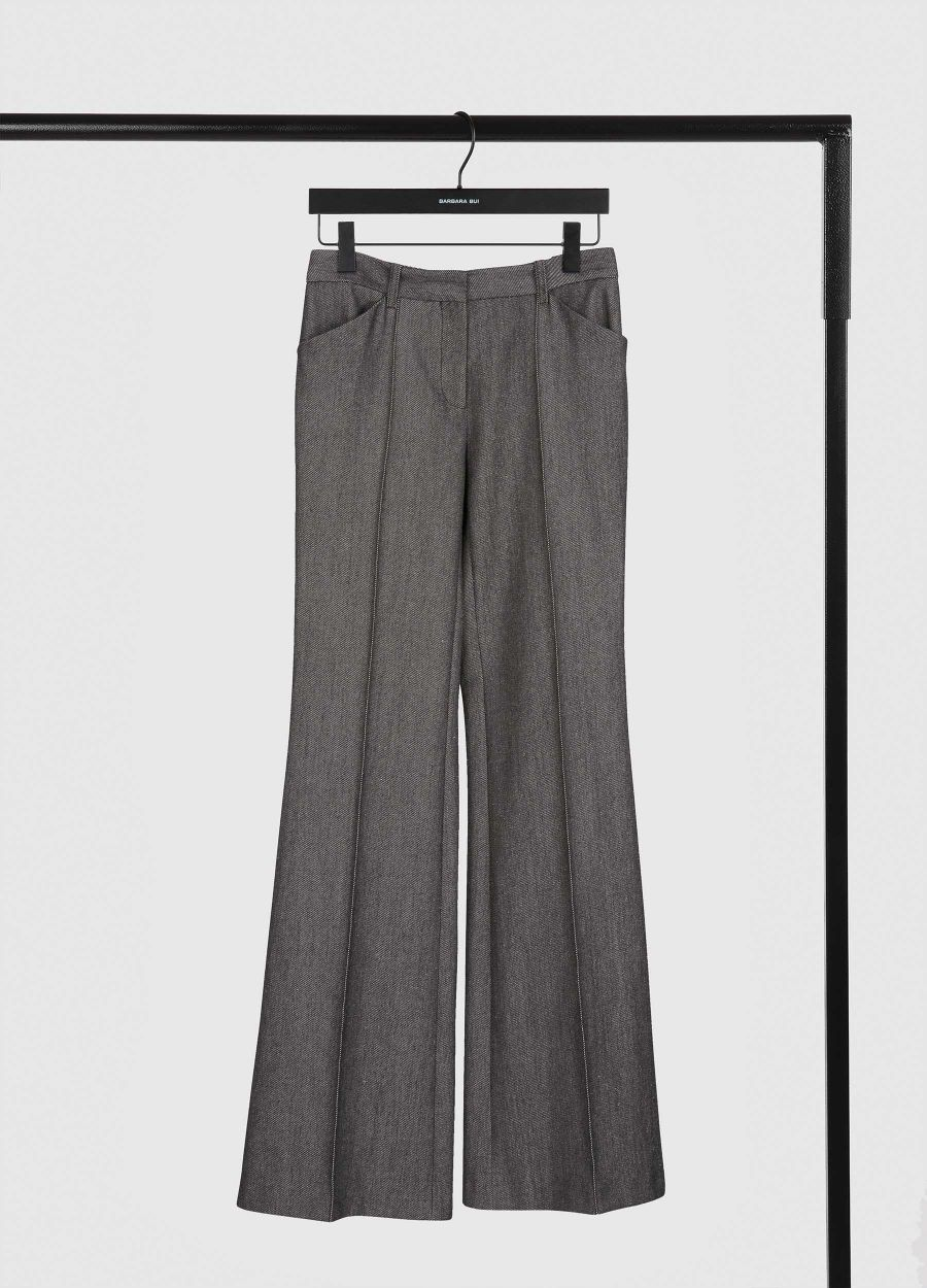 Wool and denim flare trousers