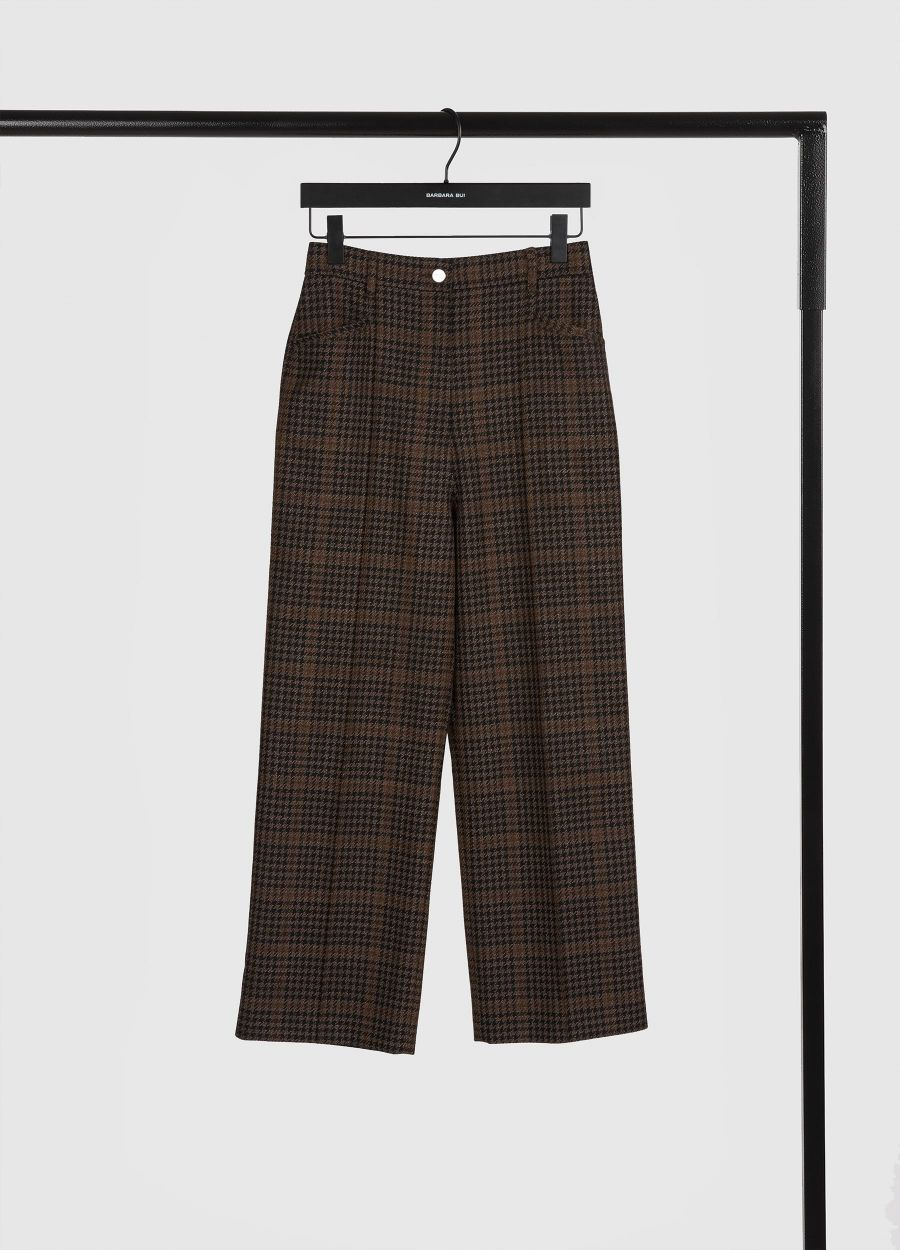 Cropped plaid wool trousers