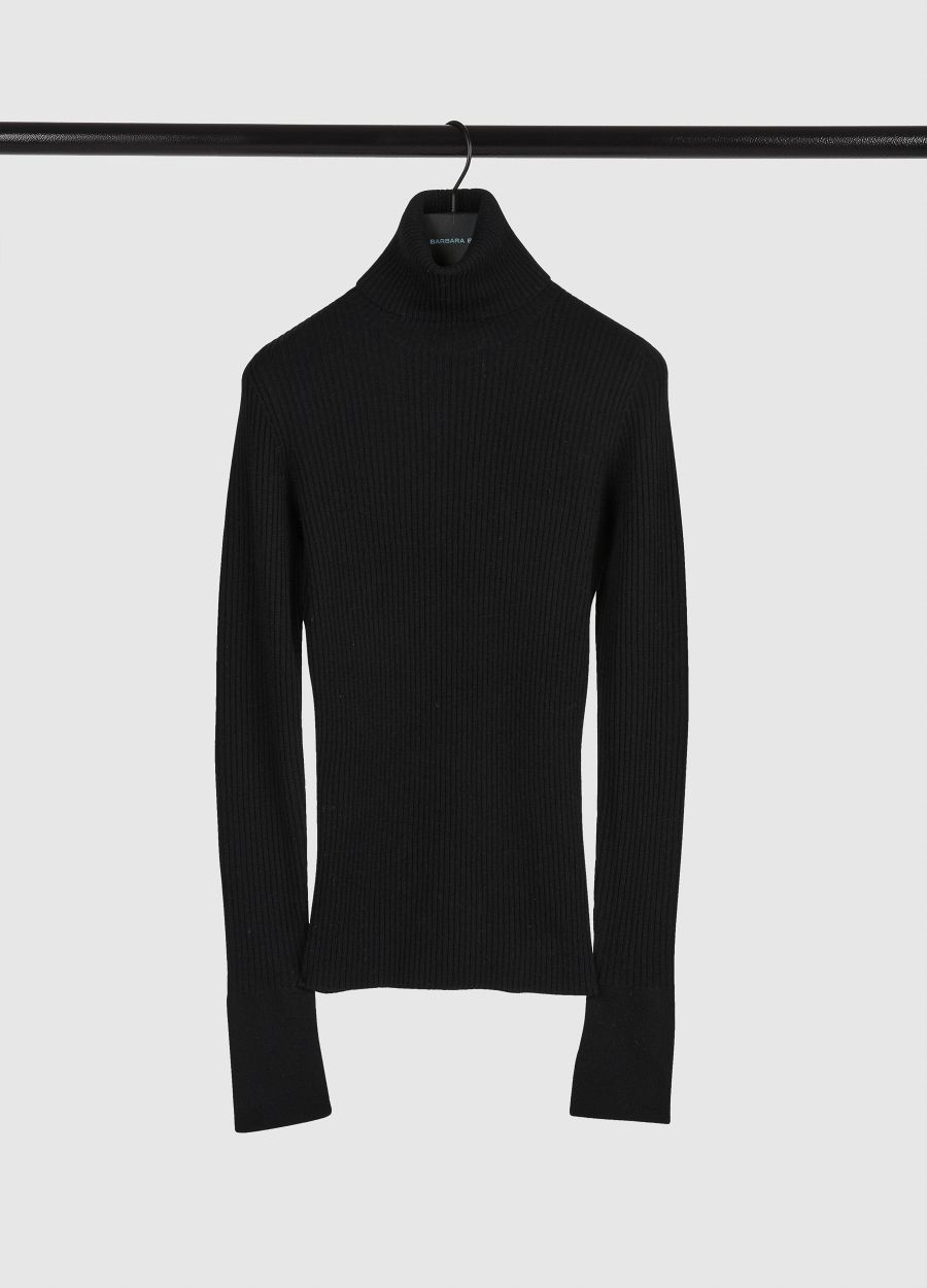 Ribbed wool and cashmere turtleneck sweater