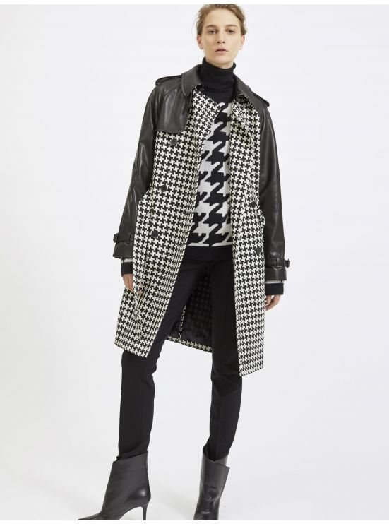 Lambskin and XL houndstooth wool overcoat