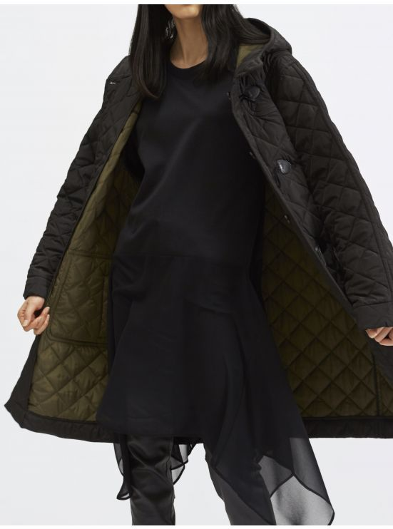 Oversized reversible quilted duffle coat