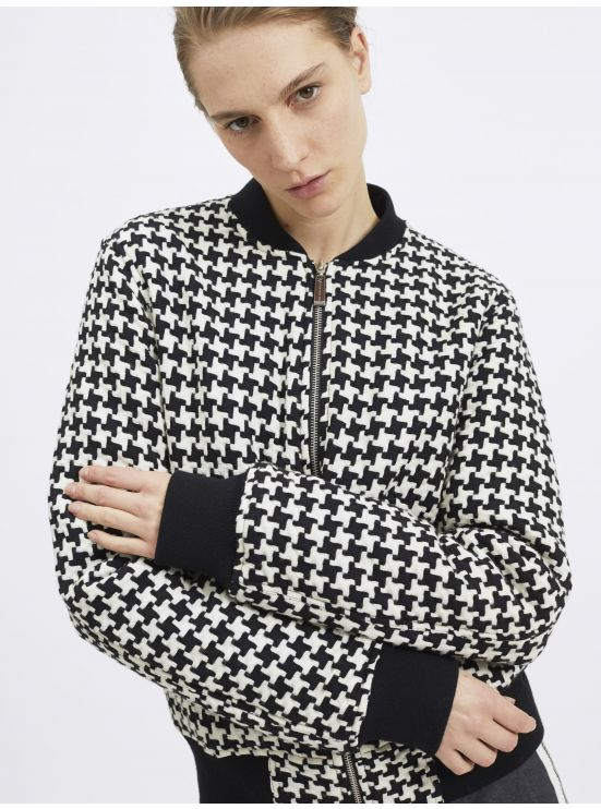 Wool houndstooth jacquard jacket