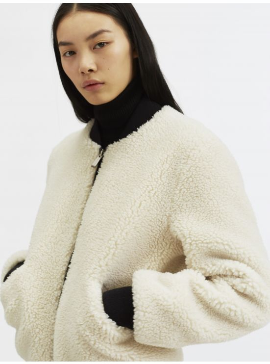 Faux-fur bomber jacket