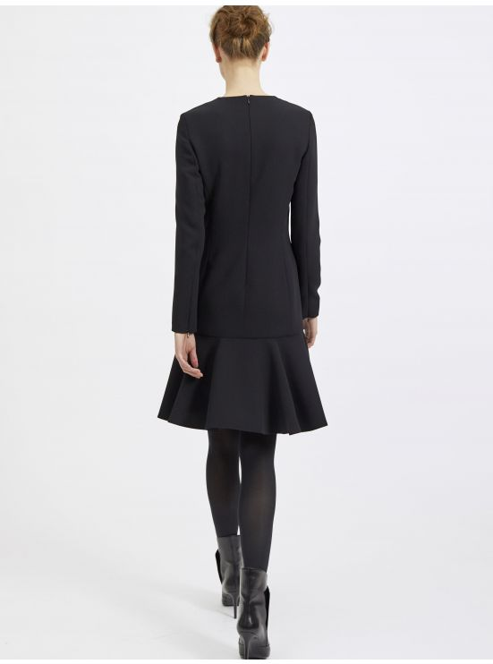 Long-sleeved crepe dress