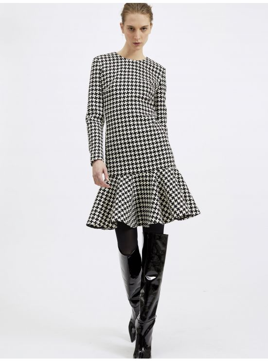 Jacquard houndstooth-printed wool dress