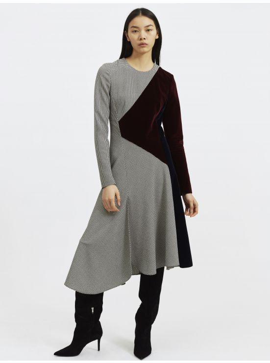 Graphic dress in mixed fabrics