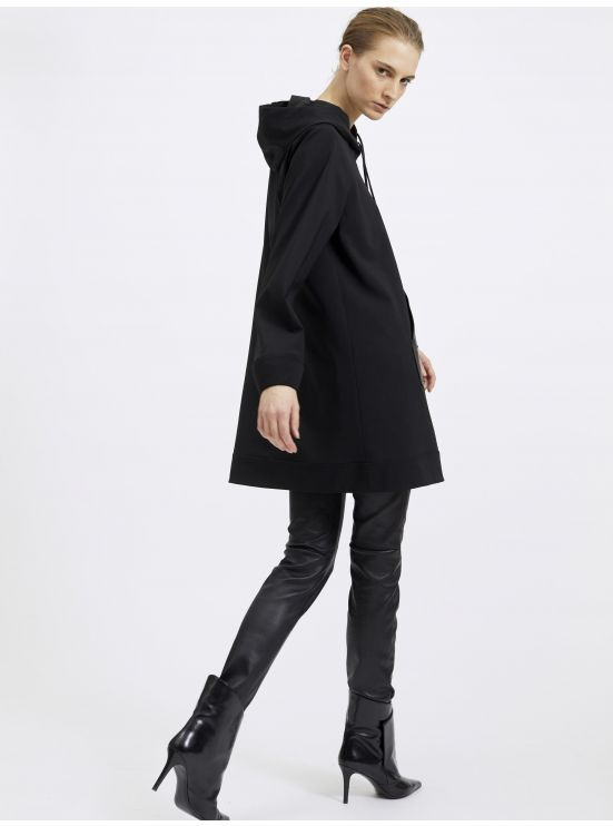 Stretch wool hoodie dress