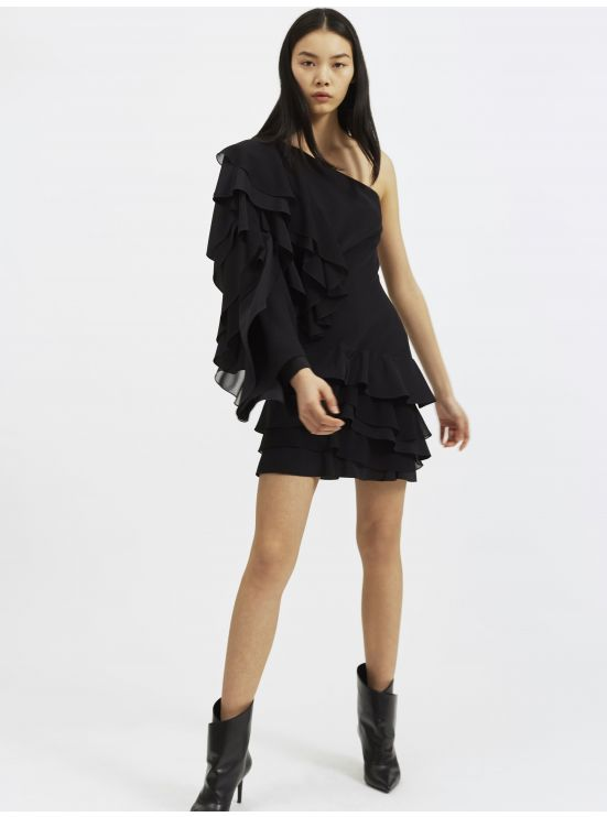 Silk ruffled one-shoulder mini dress