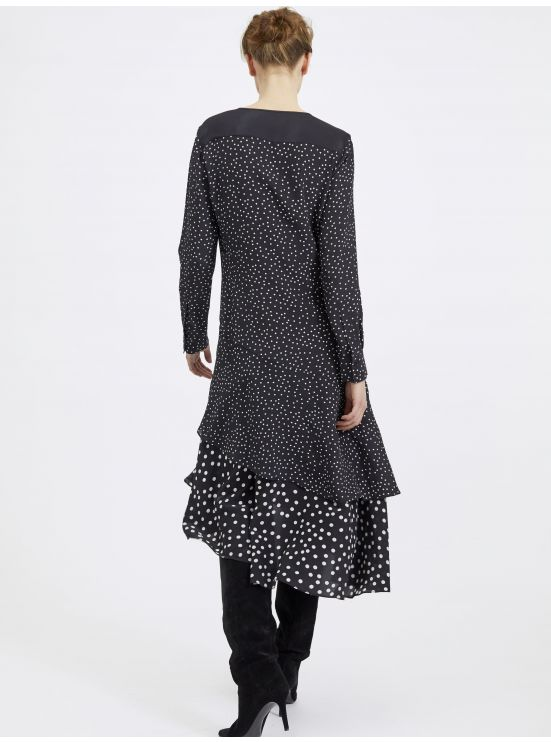 Polka dot-printed silk high low ruffled dress