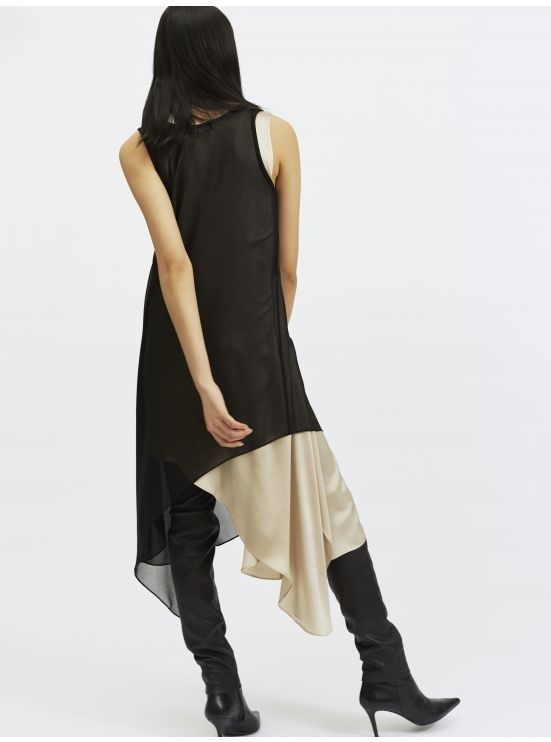 2 in 1 asymmetrical silk dress