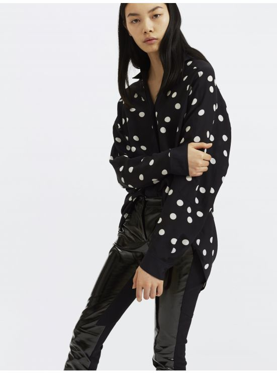 Oversized silk blend polka dot shirt