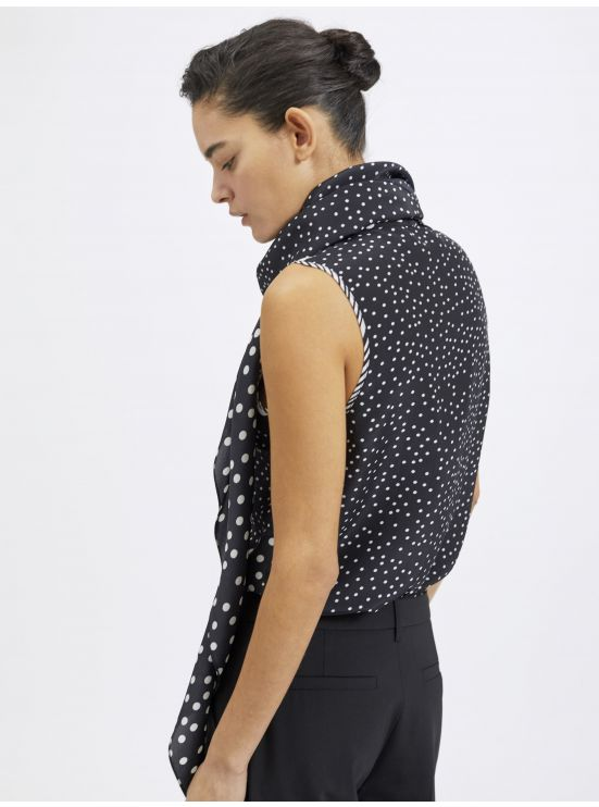 Silk blend sleeveless polka dot top