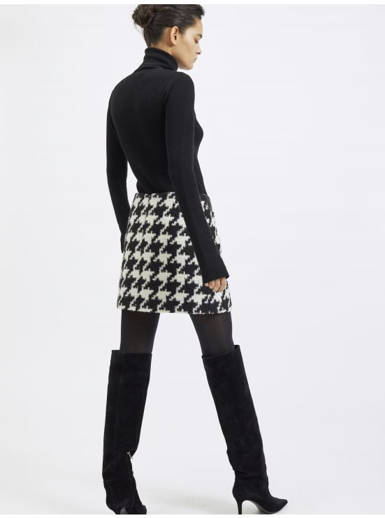 Wool blend XXL houndstooth-printed mini skirt