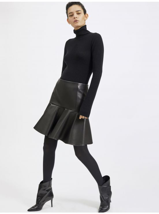 Lambskin drop yoke mini skirt