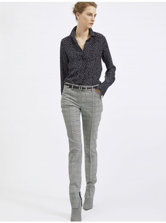 Wool Prince of Wales slim trousers