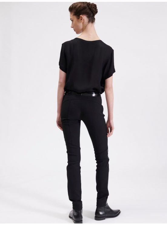 Vinyl and crepe biker trousers