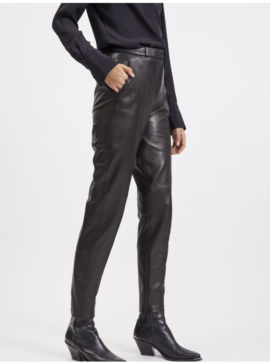 Lambskin cigarette trousers
