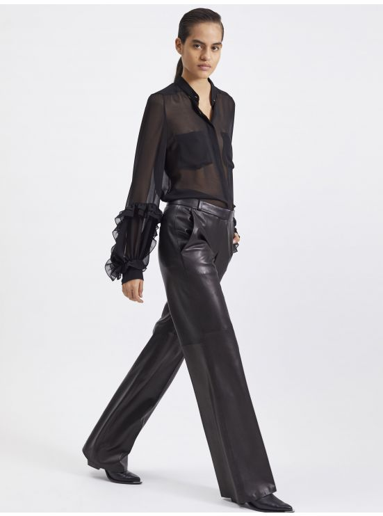 Wide-leg lambskin trousers