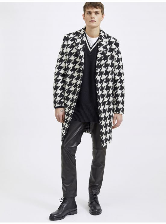 Wool XXL houndstooth overcoat