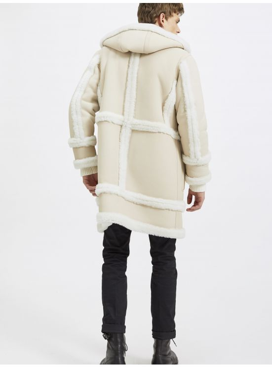 Long hooded shearling leather coat