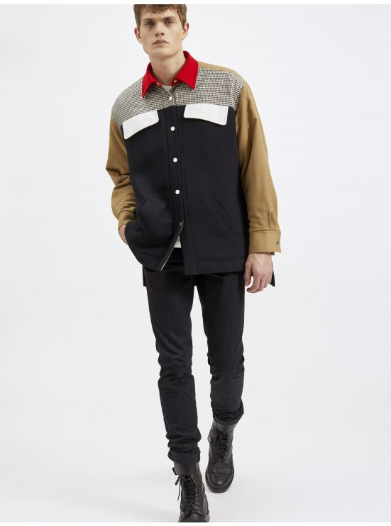 Overshirt in flanel, wool and houndstooth