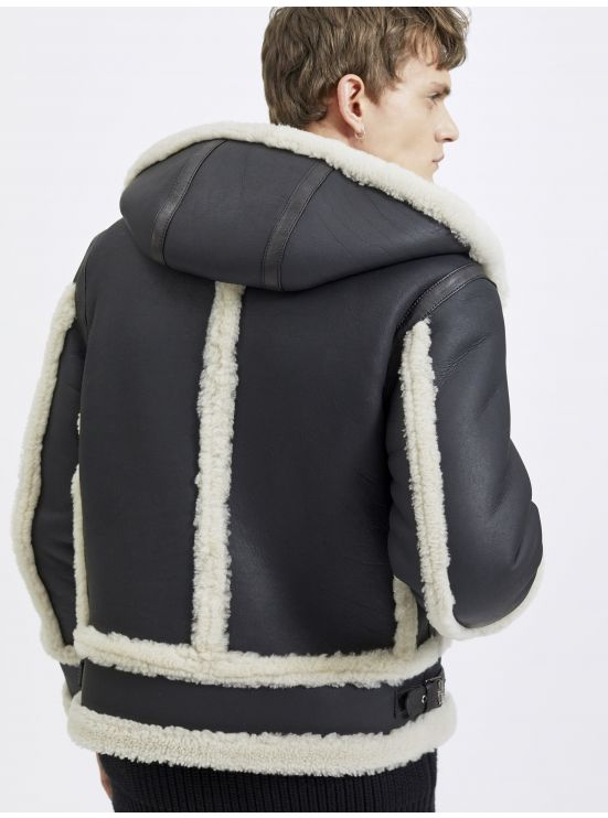 Hooded lambskin and lamb's-wool bomber jacket