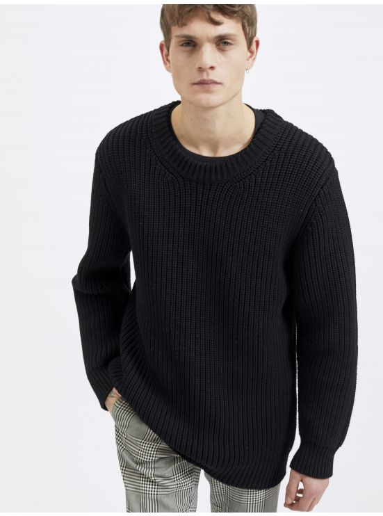 Purl stitch wool sweater