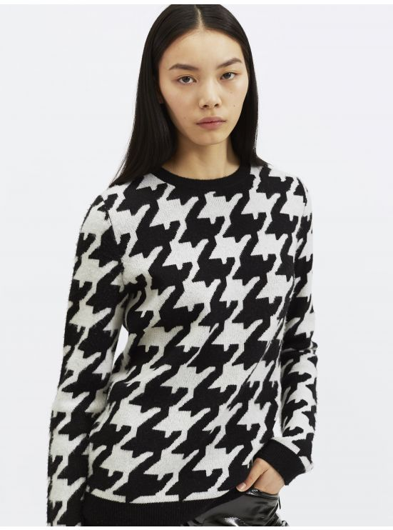 XXL houndstooth wool and cashmere sweater