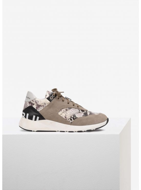 Leather and water snake sneakers