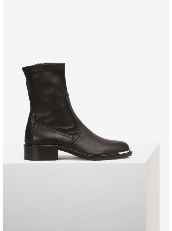 Stretch leather low-boots