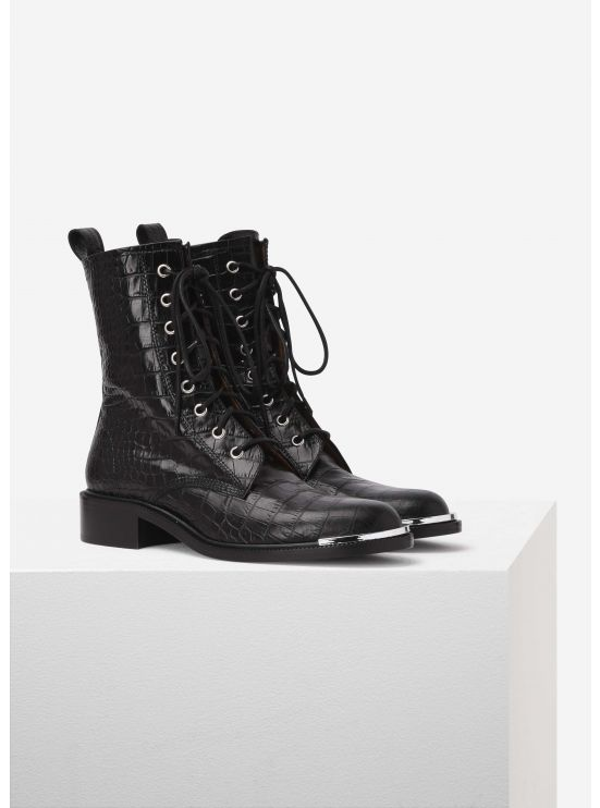 Crocodile-embossed leather biker boots