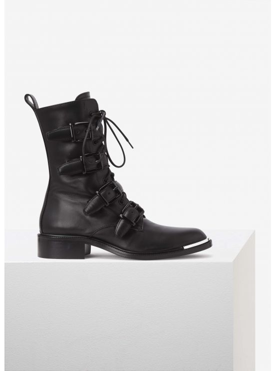 Leather buckled biker boots