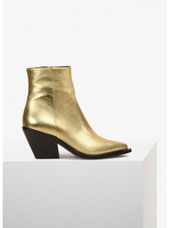 Metallic leather cowboy low-boots