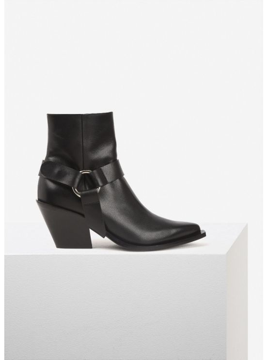 Leather ankle boots with harness