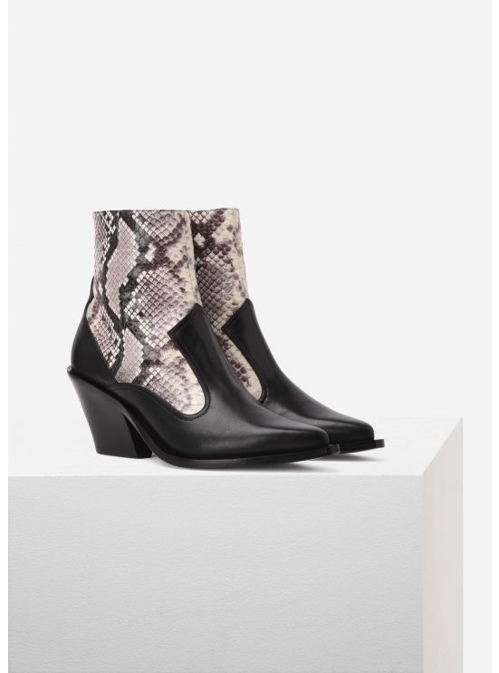 Snake and calfskin ankle boots