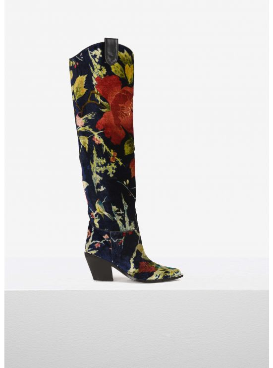 Printed-velvet thigh boots