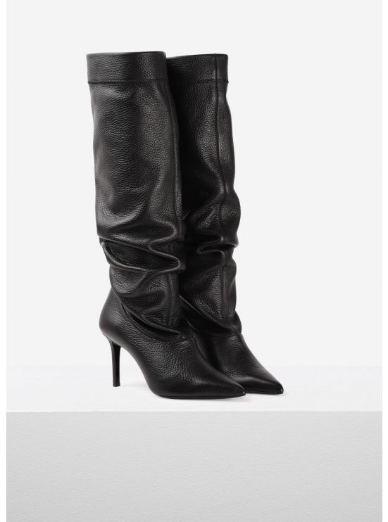 Grained leather boots