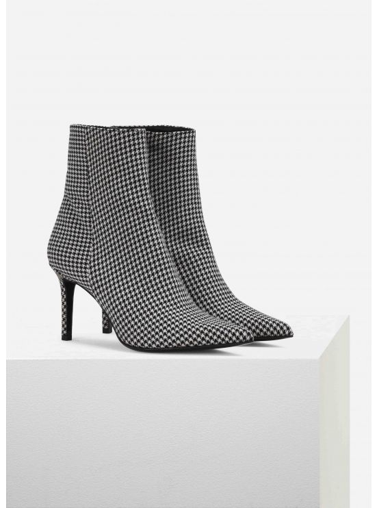 Houndstooth-printed low-boots