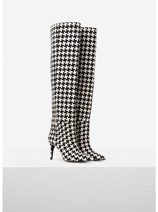 Houndstooth-printed thigh boots