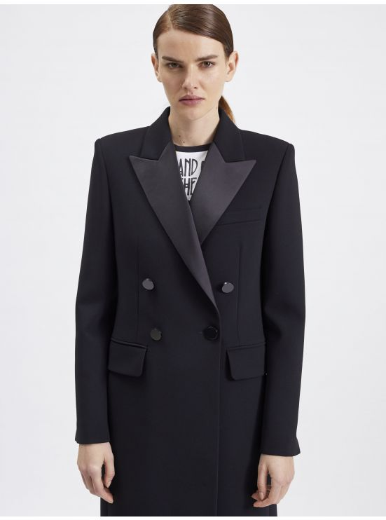 Crepe double breasted overcoat