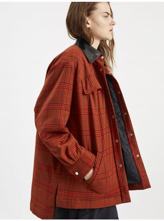 Quilted wool overshirt