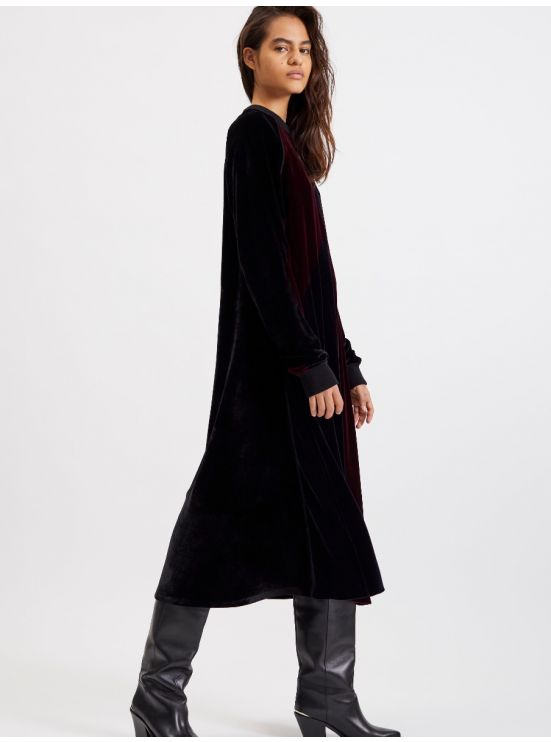 Long velvet paneled dress