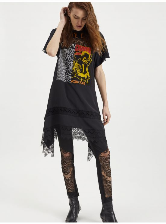 Jersey and lace tee-shirt dress